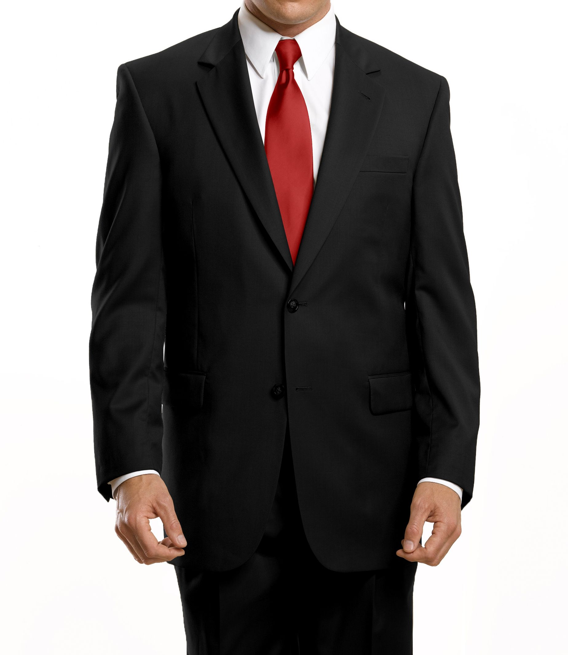 Signature 2-Button Traditional Fit Wool Suit With Plain Front ...
