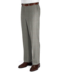 Executive Plaid Wool Plain Front Trouser