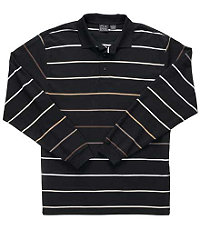 Traveler Long Sleeve Pique Polo Black Multi Feeder Stripe