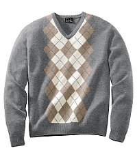Lambswool Argyle V-neck Sweater
