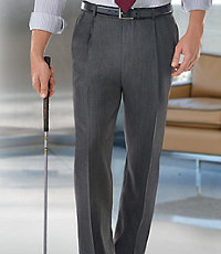 Executive Pleated Front Herringbone Trousers