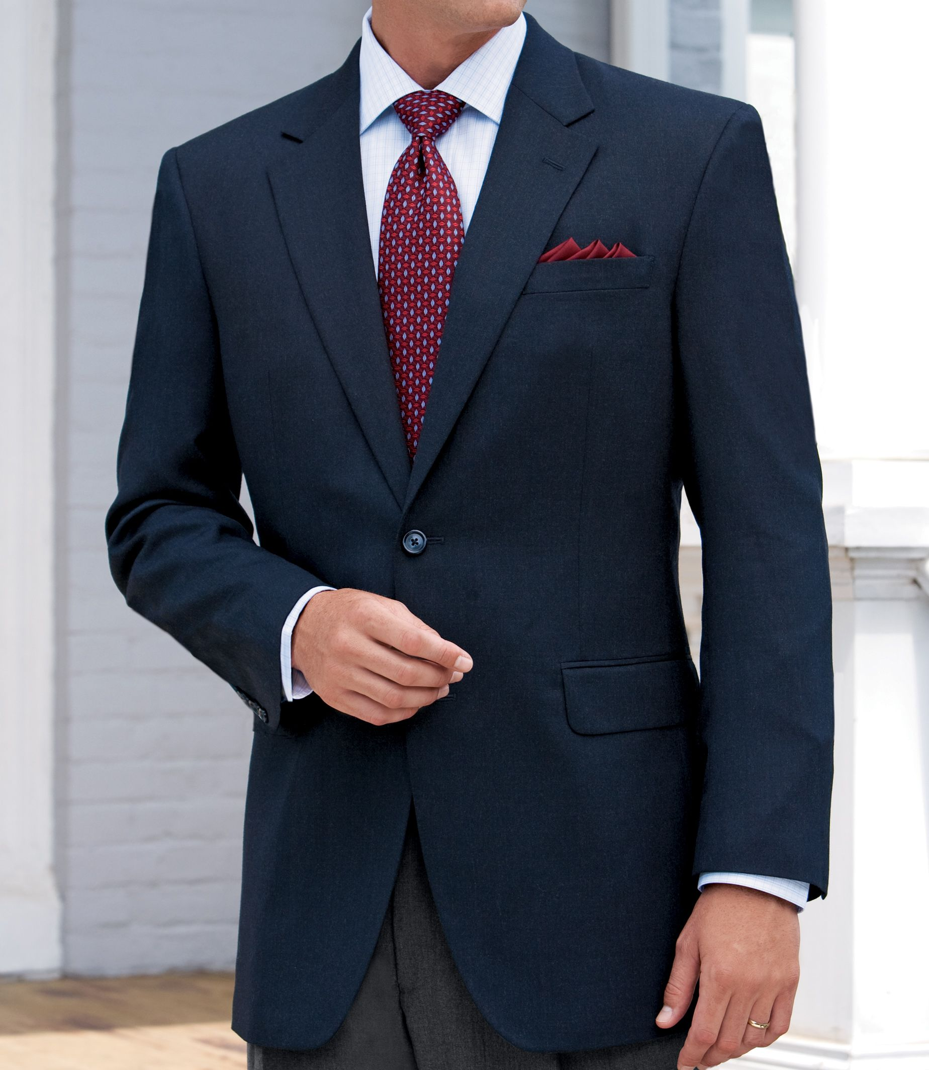 Wool/Cashmere 2-Button Blazer- Buy 1, Get 2 Pants & 2 Sportshirts FREE!