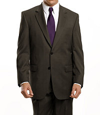 Signature 2 Button Wool Suit - Brown Nailhead, Dark Navy Fineline Stripe