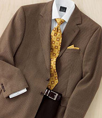 Signature 2-Button Wool Tan/Brown Check Sportcoat- Regal Fit