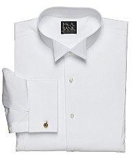 Edwardian Men's Formal Wear Art Pique Bib Wing Collar Traditional Fit Formal Dress Shirt by JoS. A. Bank Mens Dress Shirts - 14 12X33 White $72.50 AT vintagedancer.com