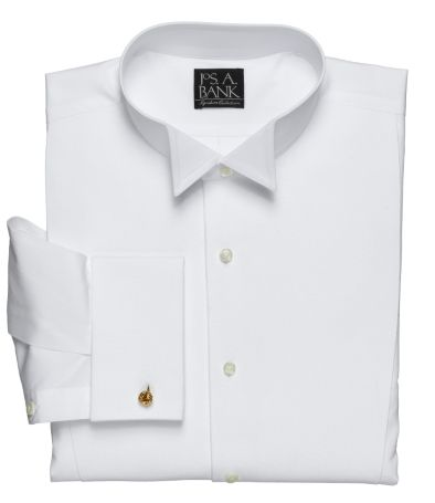 Victorian Men's Clothing Art Pique Bib Wing Collar Traditional Fit Formal Dress Shirt by JoS. A. Bank Mens Dress Shirts - 14 12X33 White $108.75 AT vintagedancer.com