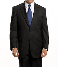 Traveler Suit Separates 2-button Jacket- Solid Black or Navy Stripe