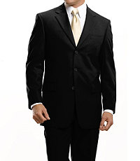 Traveler Suit Separates 3-button Jacket- Solid Black or Navy Stripe