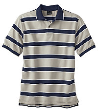 Traveler Striped Short Sleeve Pique Polo- Navy/Tan