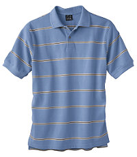 Traveler Striped Short Sleeve Pique Polo- Medium Blue/Navy