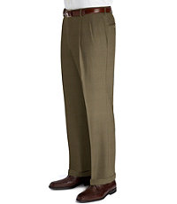 Executive Patterned Wool Trousers- Pleated Front