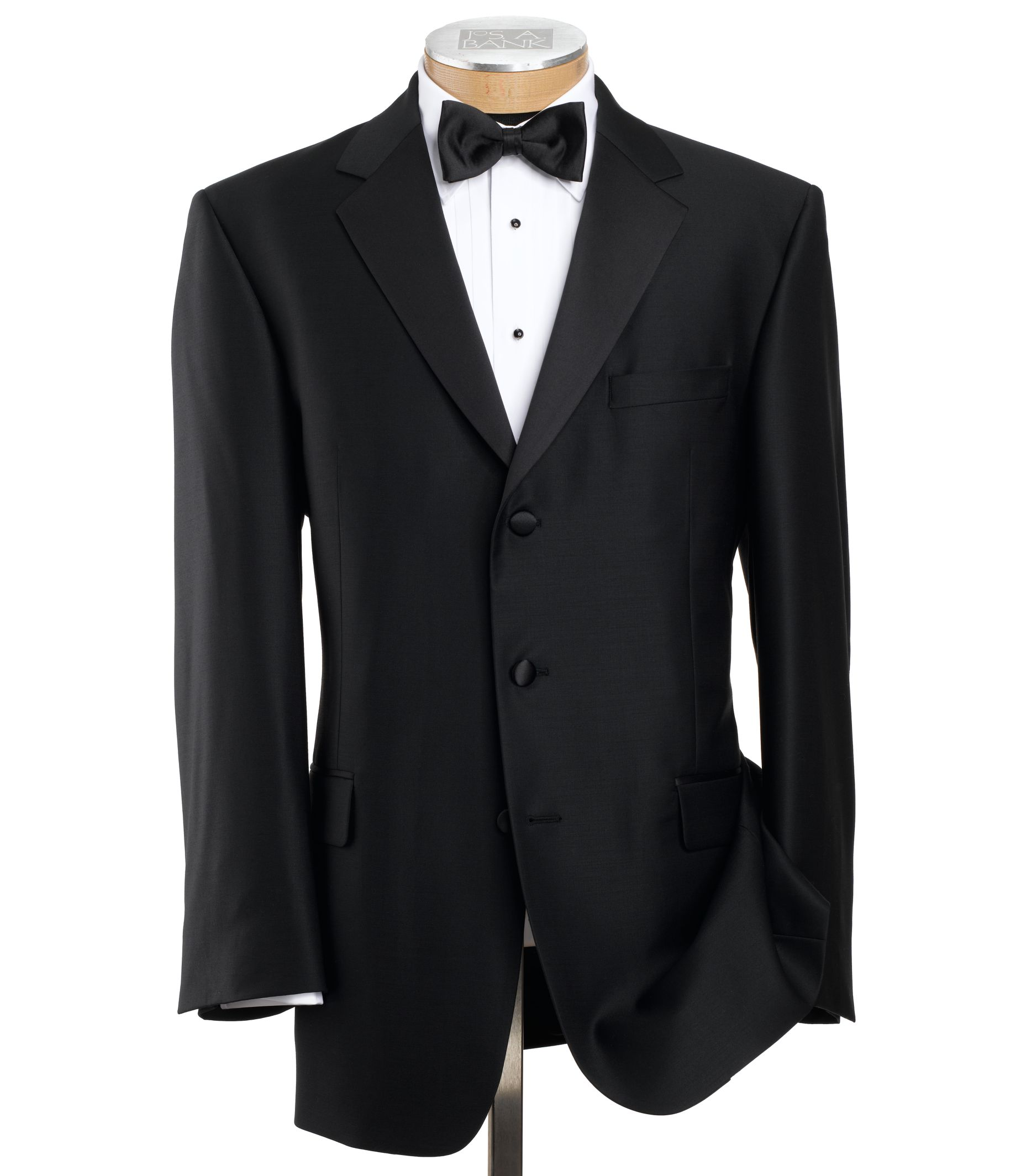 Men's Suit Signature Black 3-Button Notch Lapel JoS. A. Bank - BLACK - 44 - LONG