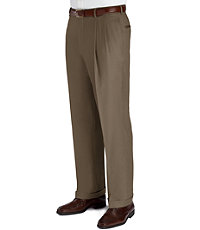 Business Express Pleated Front Trousers- British Tan