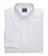 Traveler Tailored Fit Pinpoint Check Buttondown Collar Dress Shirt