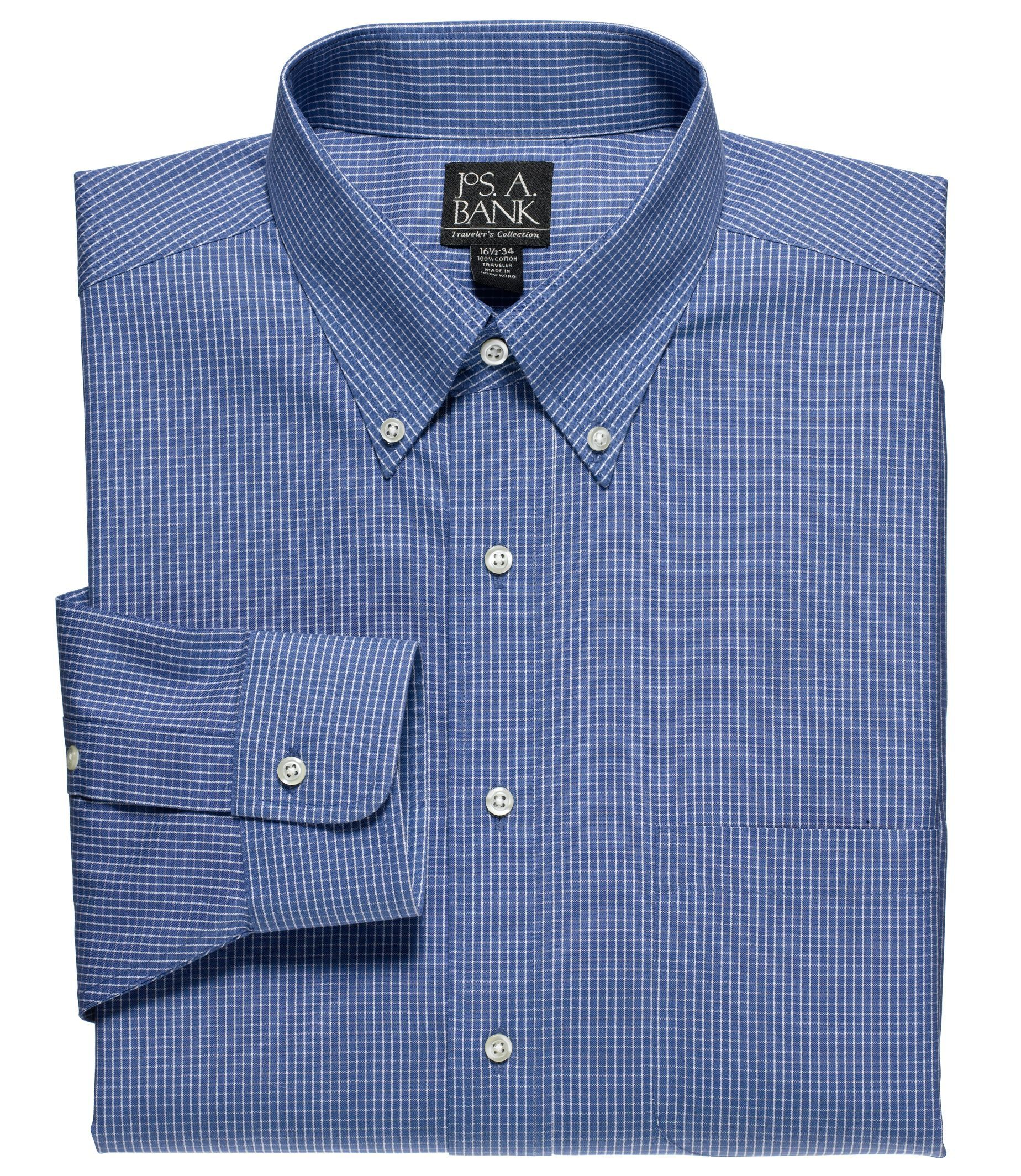 Traveler tailored fit pinpoint check buttondown collar for Tailored fit dress shirts