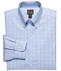 Traveler Tailored Fit Plaid Buttondown Collar Dress Shirt