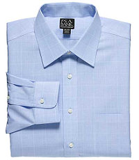 Traveler Tailored Fit Spread Collar Glen Plaid Dress Shirt