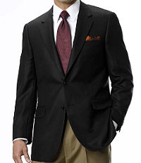 Signature 2-Button Imperial Blend Herringbone Sportcoat- Black