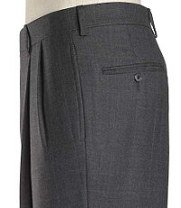 Traveler Pleated Front Trousers-Grey Microcheck