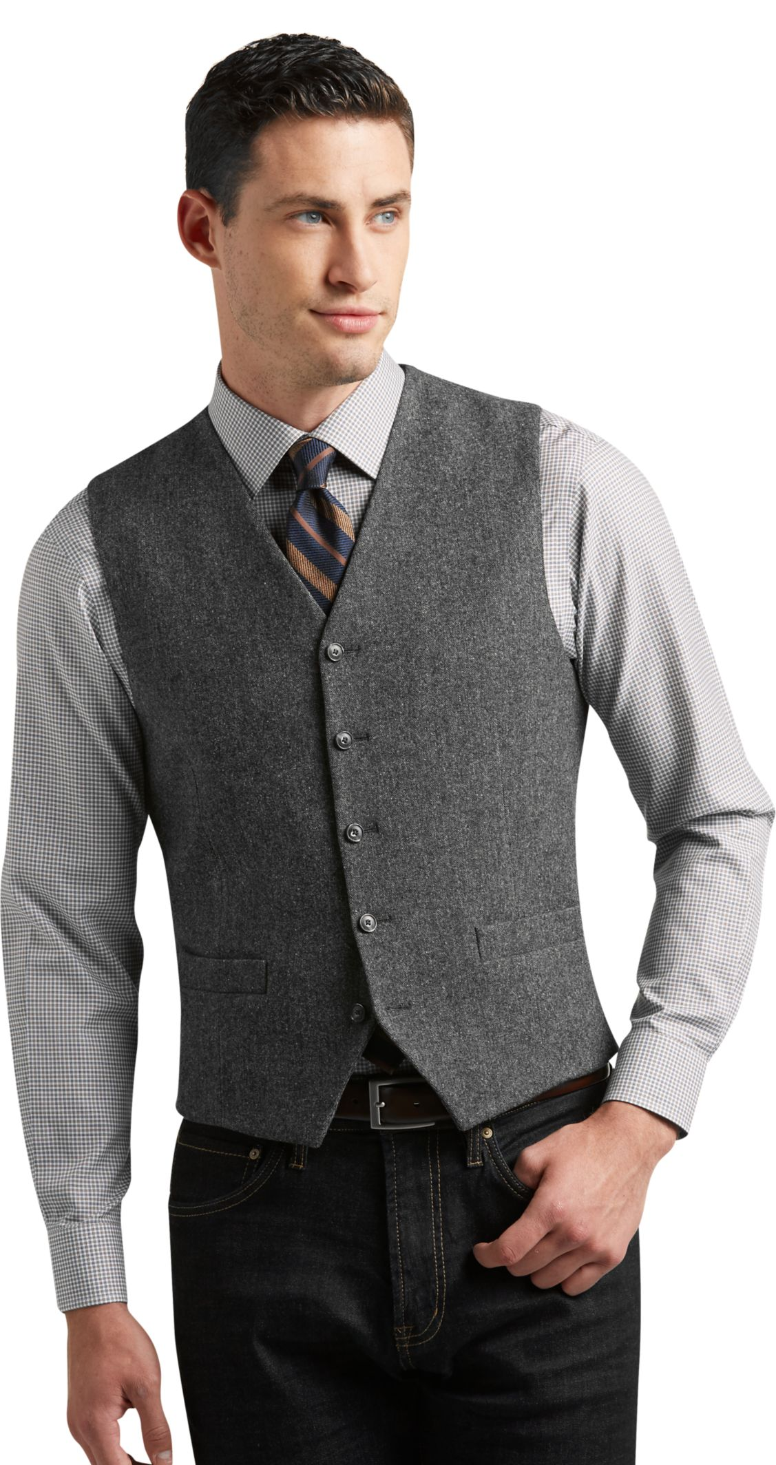 1905 Collection Tailored Fit Donegal Tweed Vest - Big & Tall - All ...