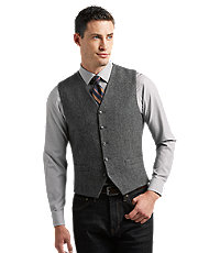 Men's Vintage Inspired Vests 1905 Collection Tailored Fit Donegal Tweed Vest by JoS. A. Bank Mens Blazer  Sportscoat - Xx Large Xx Large Grey Grey $130.00 AT vintagedancer.com