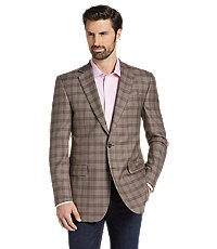 Men's Vintage Style Suits, Classic Suits Reserve Collection Traditional Fit Check Sportcoat - Big  Tall $269.00 AT vintagedancer.com
