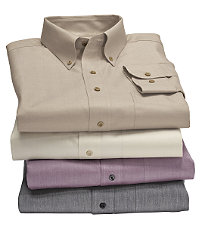 Traveler Tailored Fit Solid Herringbone Sportshirt