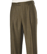 Executive Patterned Wool Milled Trousers Pleated Front