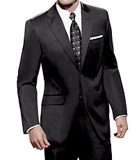 Traveler Tailored Fit 2-Button Suits Pleated Front- Black