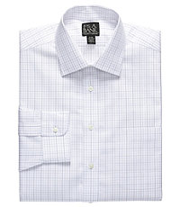 Traveler Pinpoint Plaid Spread Collar Dress Shirt