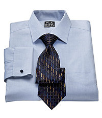 Traveler Pinpoint Solid Tailored Spread Collar, French Cuff Dress Shirt