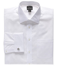 Signature Spread Collar French Cuff Herringbone Dress Shirt