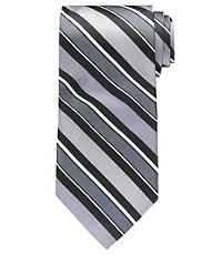 Silver Wide Stripe Formal Tie