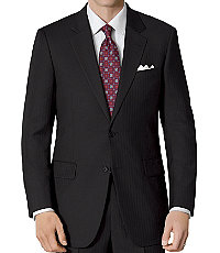 Signature 2-Button Wool Pattern Suit- Black Herringbone