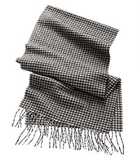 Cashmere Scarf- Black/Camel/White Houndstooth