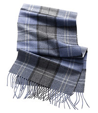 Cashmere Scarf- Blue/Grey/Denim Plaid