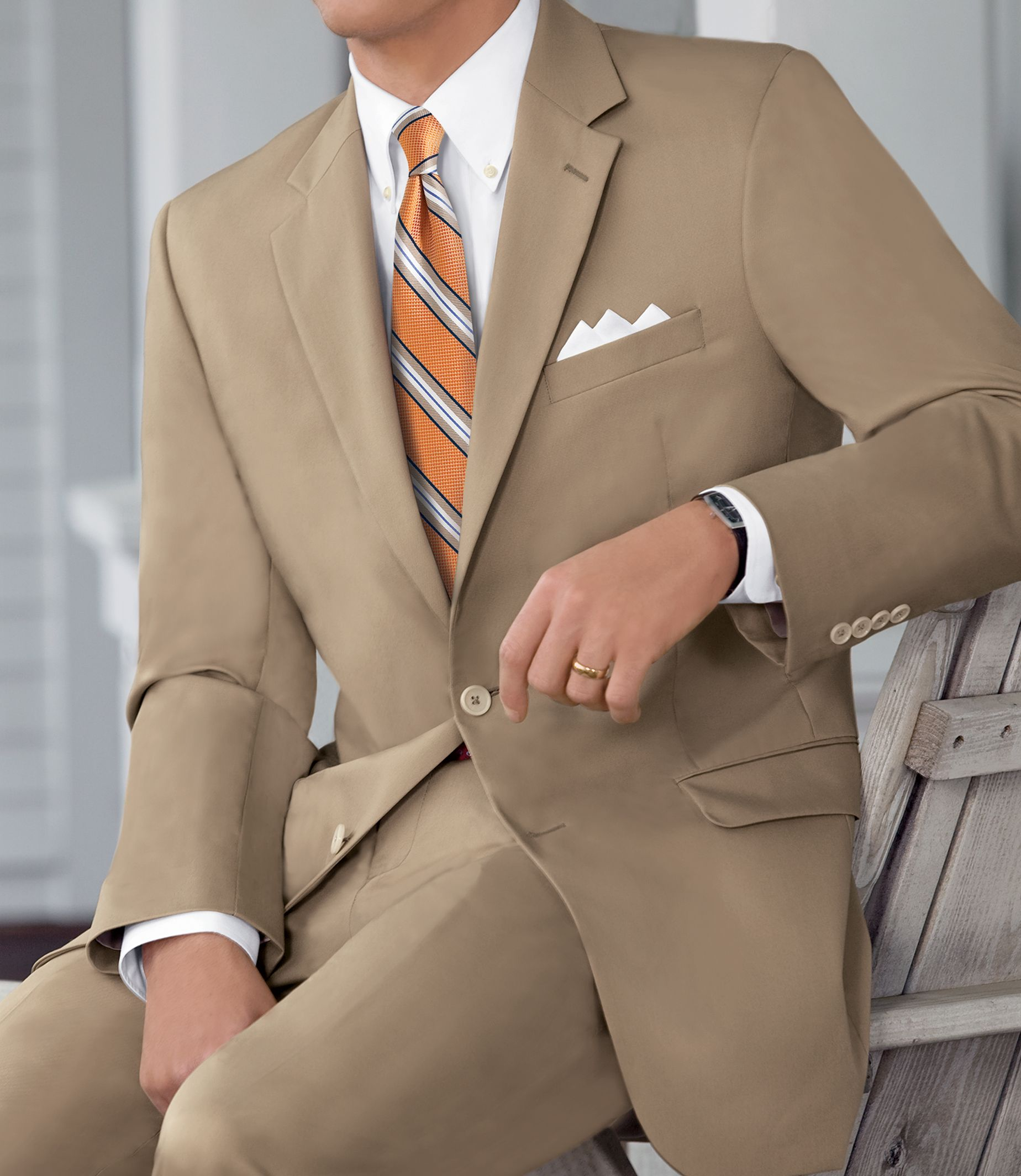 Men's Suit Natural Stretch 2-Button Poplin Suit- Sizes 44 X-Long-52 JoS. A. Bank - TAN - 52 - LONG
