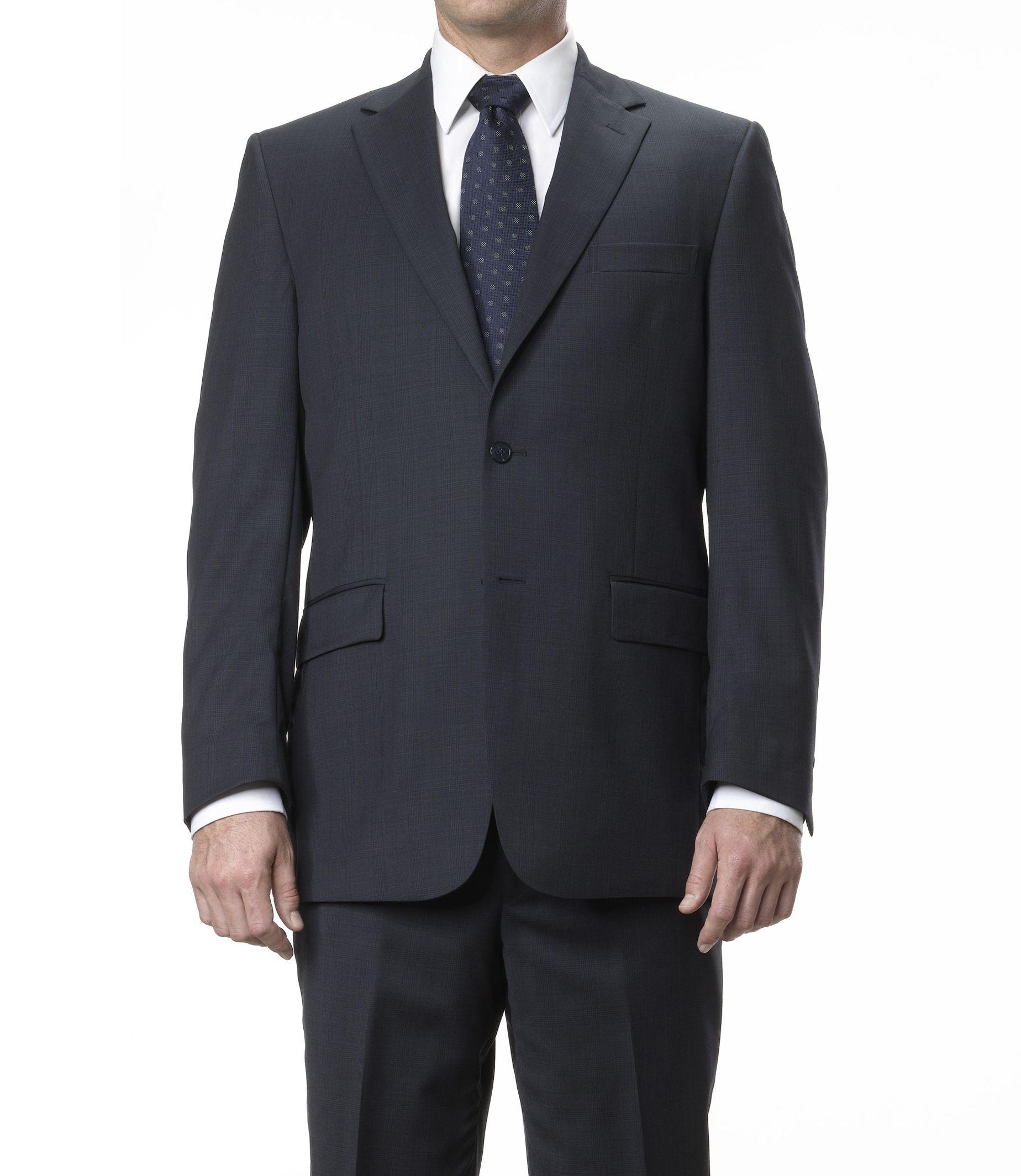 Traveler Tailored Fit 2-Button Suits Plain Front Trousers- Navy Plaid