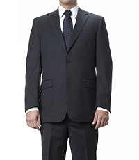 Traveler Tailored Fit 2-Button Suits Plain Front Trousers- Navy Plaid