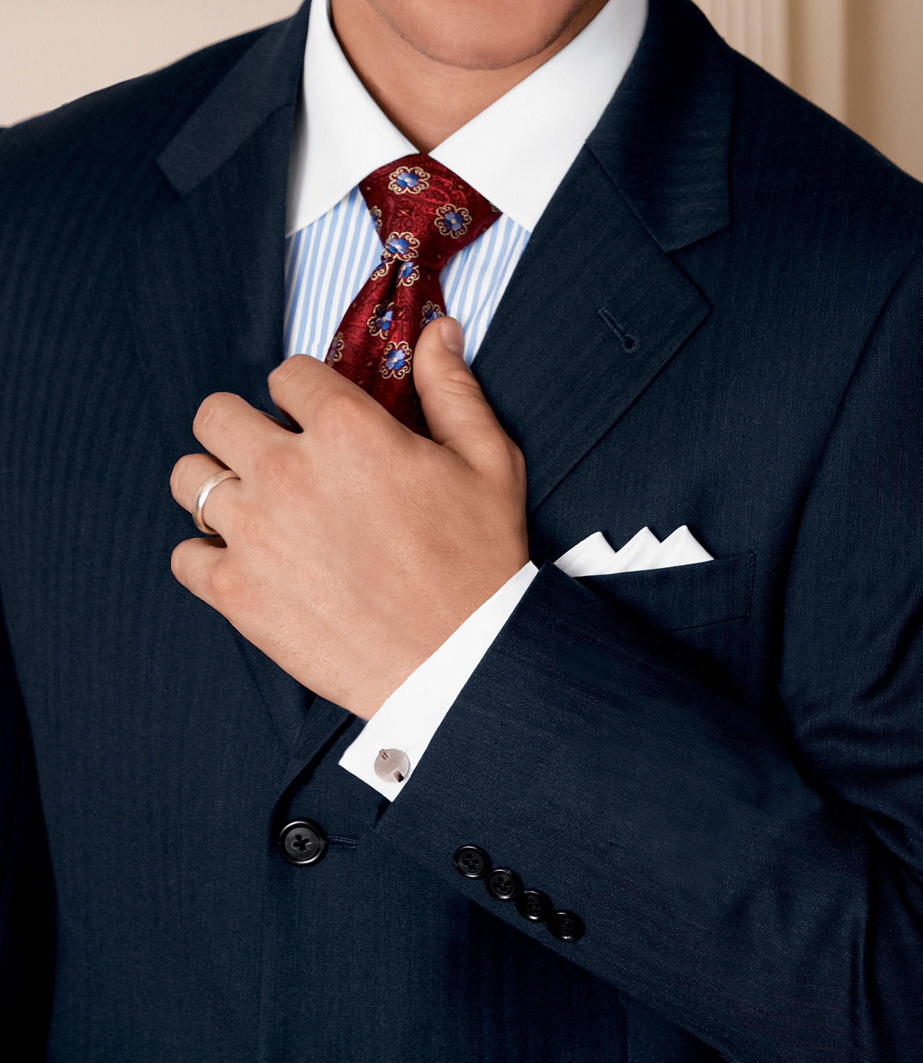 Signature 2-Button Wool Suit- Sizes 44 X-Long-52 - British Tan, Cambridge Grey, Charcoal Herringbone, Navy Herringbone