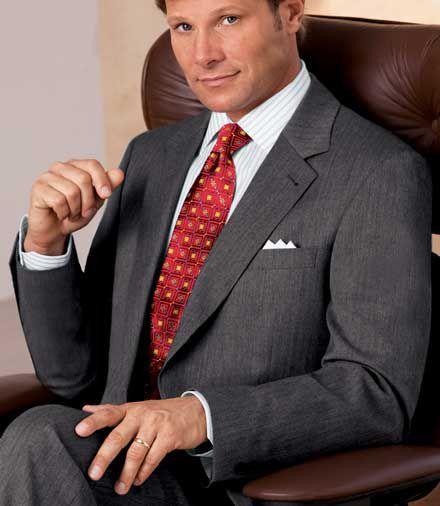 Signature 2-Button Wool Suit- Sizes 44 X-Long-52- Grey Herringbone, Navy