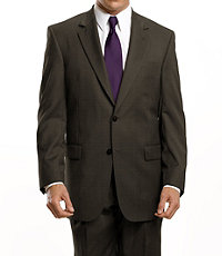 Signature 2-Button Wool Pattern Suit- Sizes 44 X-Long-52- Brown Nailhead, Dark Navy Fineline Stripe
