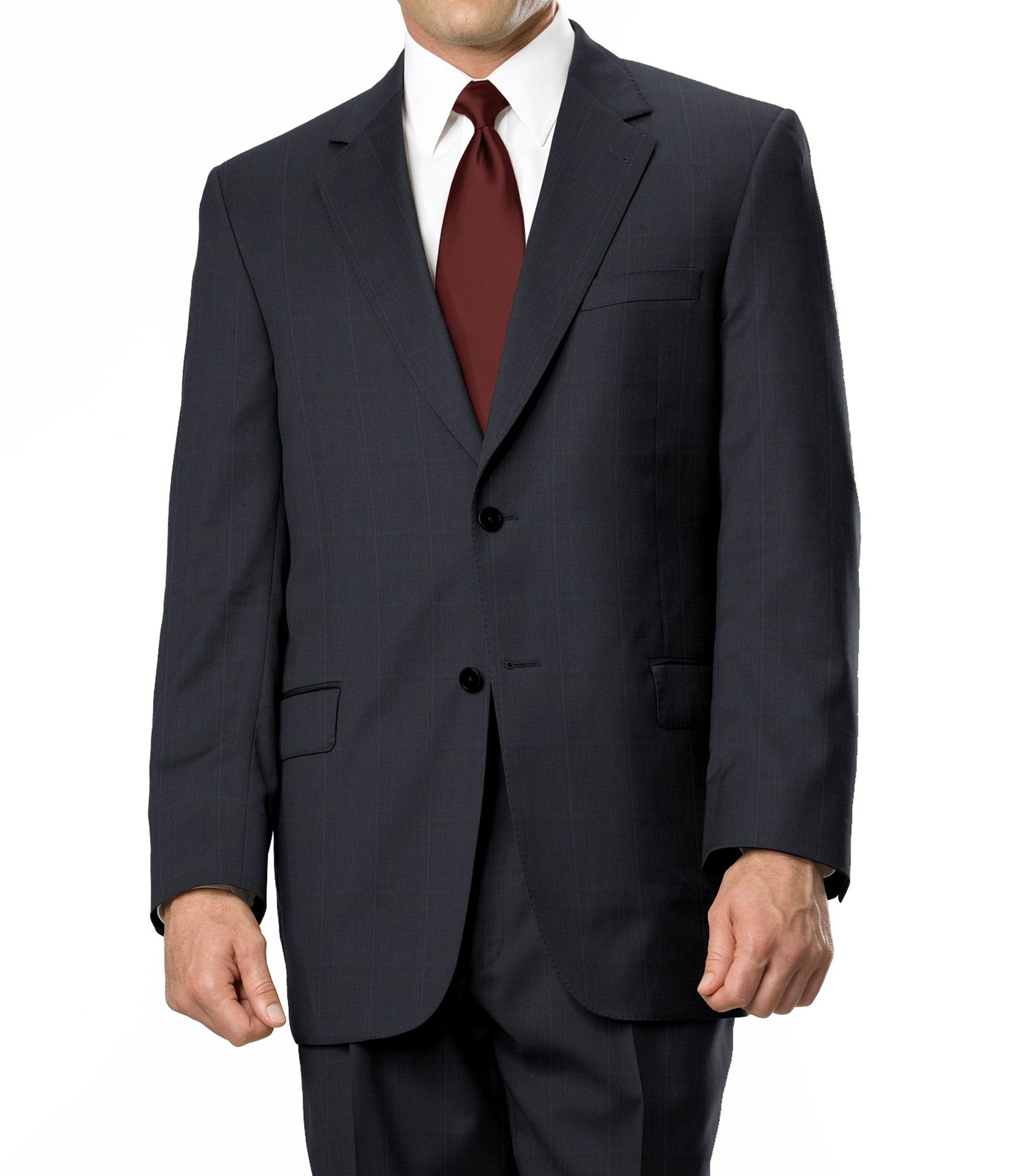 Signature Gold 2-Button Wool Suit- Sizes 44 X-Long-52- Black/White/Grey/Navy Birdseye