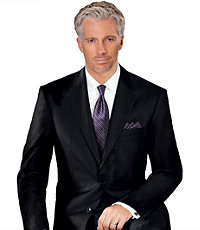 Signature Platinum Wool 2-Button Side Vent Suits- Sizes 44 X-Long-52- Black Corded Stripe, Charcoal Tic, Navy Thin Corded Stripe