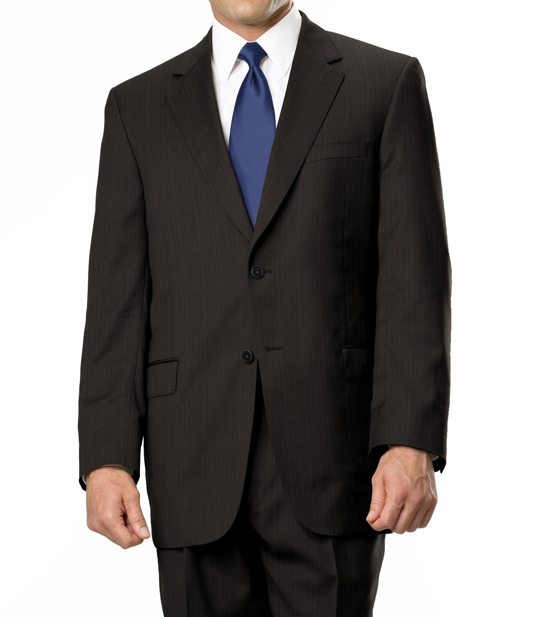 Signature Gold 2-Button Wool Suit- Sizes 44 X-Long-52- Charcoal Grey, Navy Stripe