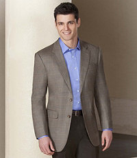 Executive 2-Button Silk/Wool Windowpane Sportcoat- Sizes 44-52