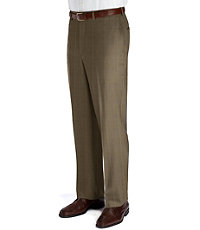 Executive Patterned Plain Front Wool Trousers- Sizes 44-48