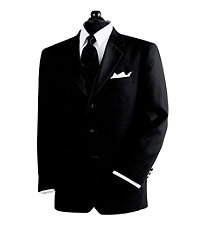 Black 3-Button Tuxedo Jacket- Sizes 48-52