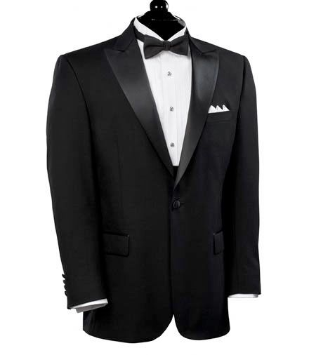 Black Peak Lapel Tuxedo Jacket- Sizes 48-52