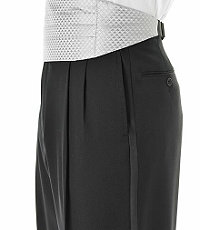 Black Pleated Front Tuxedo Trousers- Sizes 44-48